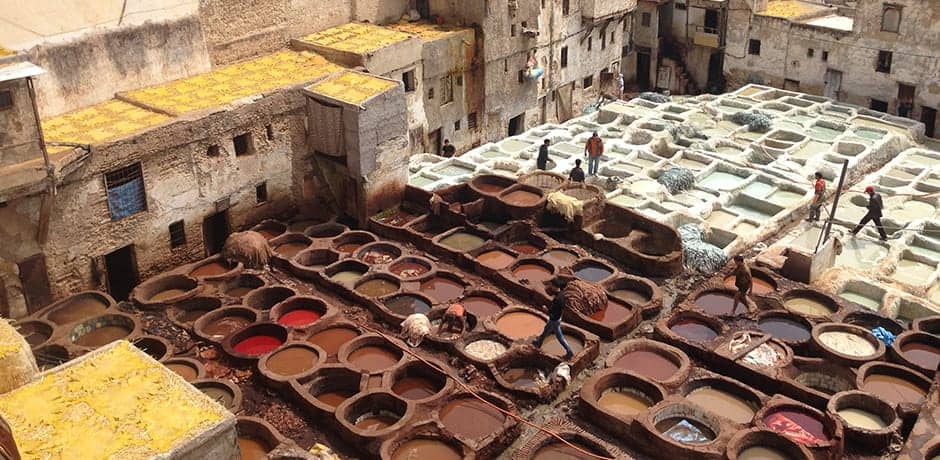 The Chouara Tanneries of Fes, almost a thousand years old, still use the same traditional tanning techniques.