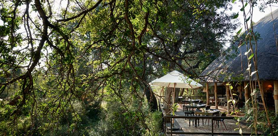 The deck of the main lodge at The Farmstead at Royal Malewane, South Africa. Courtesy the Royal Portfolio.