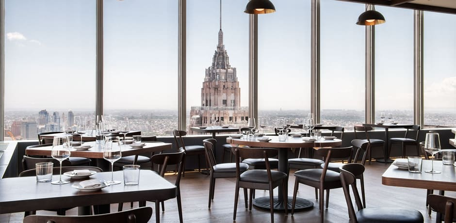 Stellar views from the Manhatta main dining room. Courtesy Emily Andrews.
