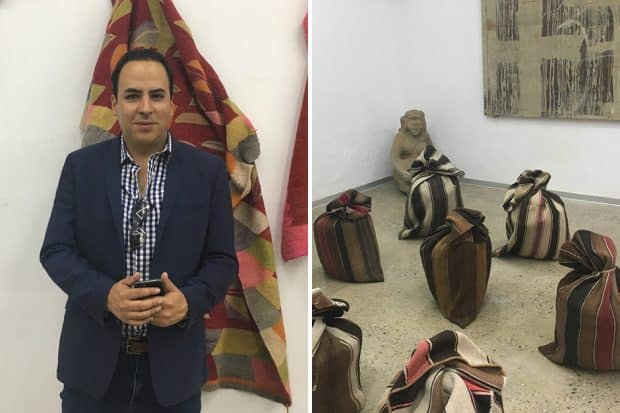 Left: Gallery owner Mariano Ugalde; Right: An exhibit at his gallery, entitled Potato Sacks by artist Gaston Ugalde