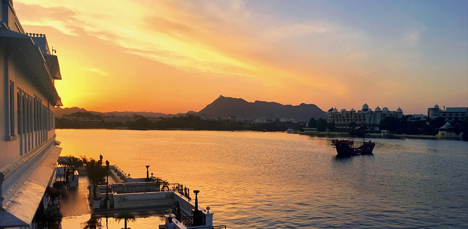 Sunset over Lake Pichola, as seen from the Taj Lake Palace