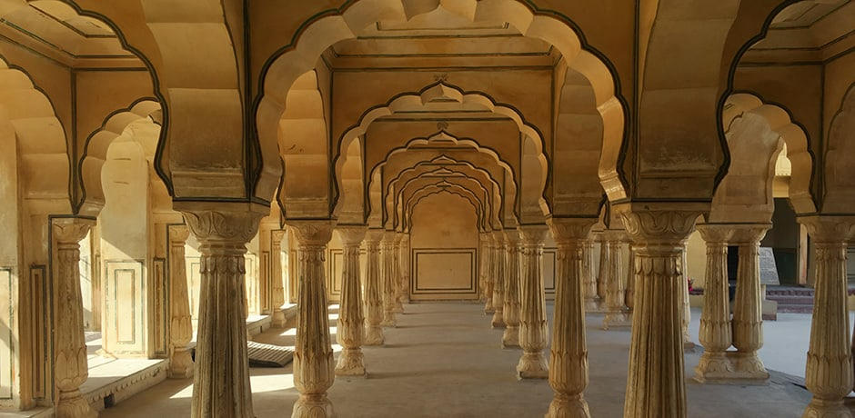 Scalloped arches abound at the Amber Palace near Jaipur