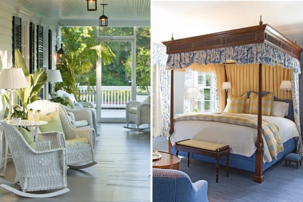 Porch with white wicker furniture and bedroom with canopied bed at Mayflower Grace, Connecticut
