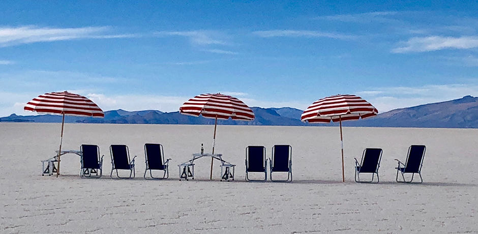 Another Ugalde installation on the salt flats, though this also became the perfect spot for sundowners.