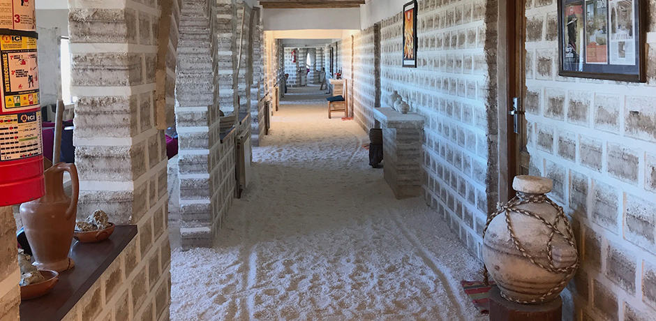 At the Luna Salada hotel, the walls are made of salt blocks and the floors are crushed salt.