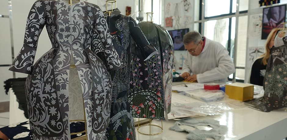 One of Fendi's fur artists demonstrating the unique techniques used to craft Karl Lagerfeld's designs