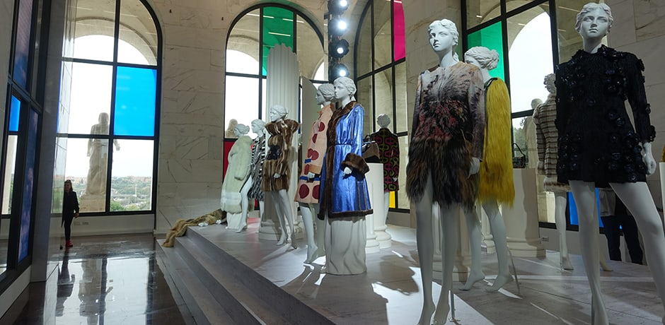 A fur retrospective in the restored modernist monument, the Palazzo della Civilta, which serves as Fendi's headquarters in Rome