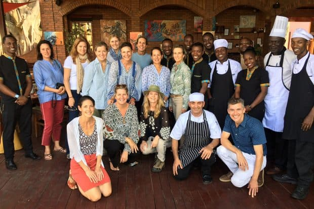 Josh, Alissa, Melissa and the Indagare Journey group at Heaven Restaurant in Kigali