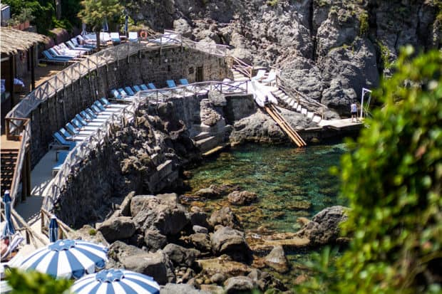The beach cove at Mezzatorre Hotel & Thermal Spa in Ischia, Italy