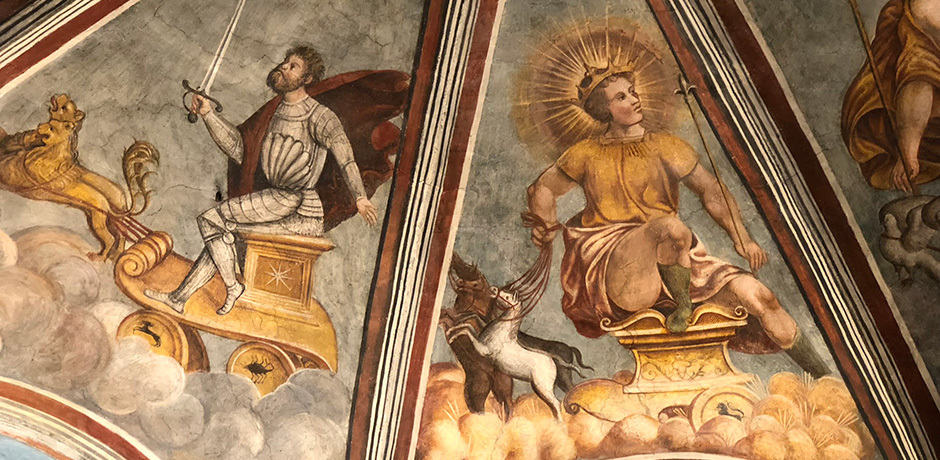 A detail from a ceiling in the Casa degli Atellani, which Piero Portaluppi renovated for Ettore Conti.