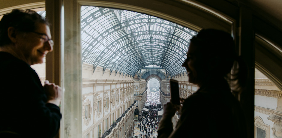 Our journey attendees enjoy a behind-the-scenes view of the Galleria Vittorio Emmanuele II shopping center in Milan, Italy.