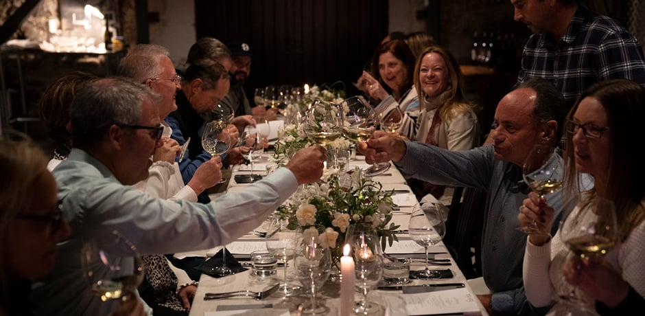 A festive dinner at a winery in Napa Valley on the 2019 Insider Journey with WSJ. Magazine
