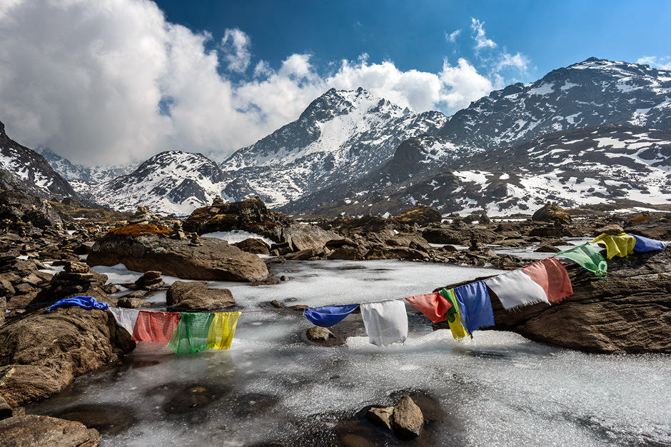 Prayer flags abound in the mountains of Nepal.