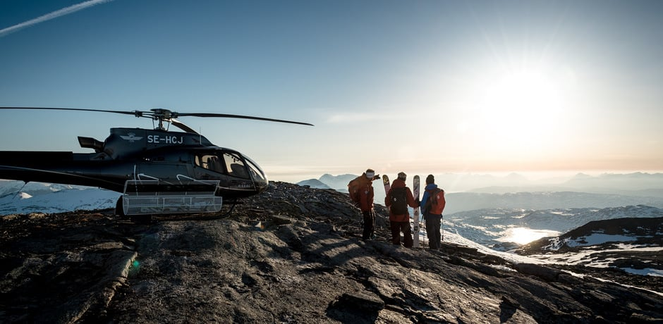 Heli skiing under the midnight sun at Niehku in Swedish Lapland. Photo by David Carlier.