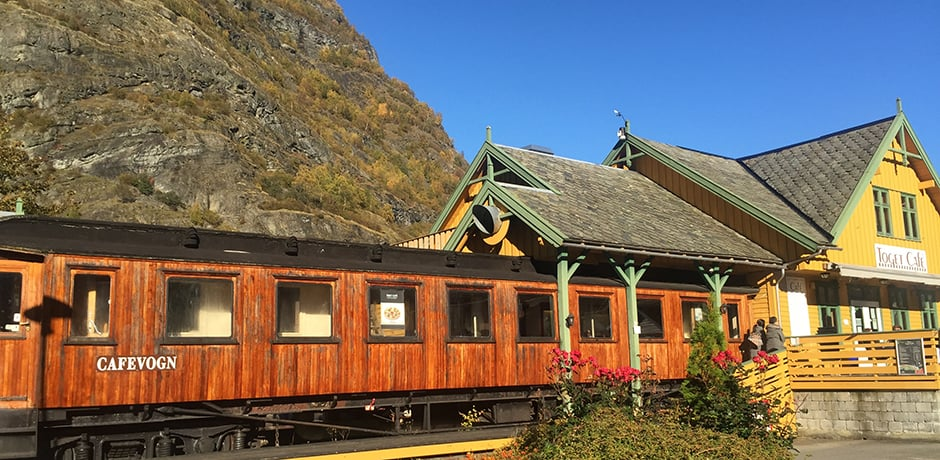 A train-themed cafe in the small town of Flam, in the northern Fjord region