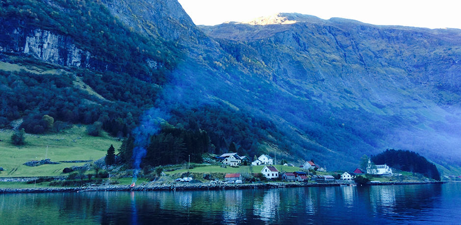 Bakka, a small village along the Nærøyfjord, has fewer than ten residents during the winter