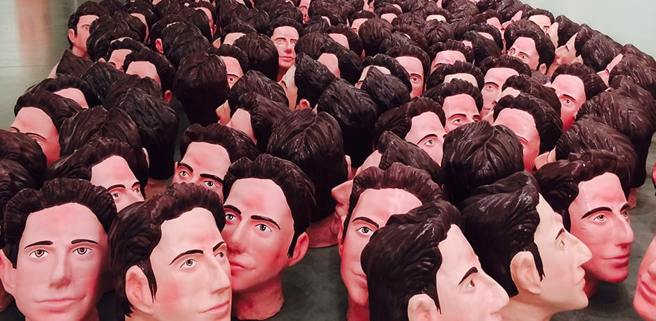 1,000 ceramic Tom Cruise heads line the hall at Astrup Fearnley