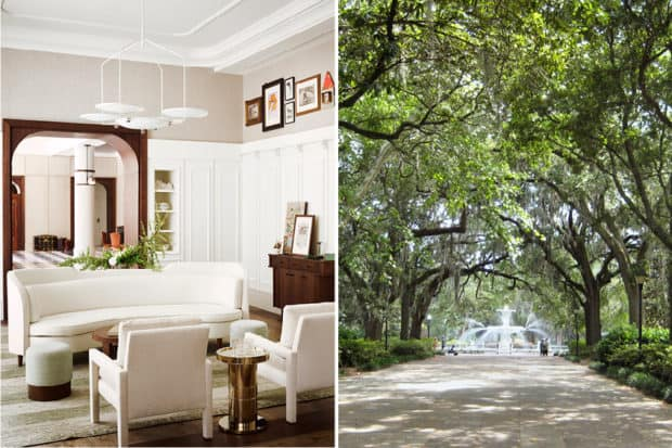 The lounge at the Perry Lane Hotel, courtesy Douglas Friedman; Forsyth Park, courtesy J Mier