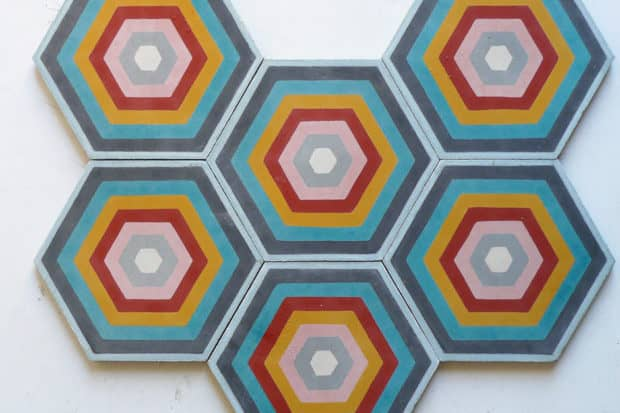 Colorful hexagon tiles at Popham Designs