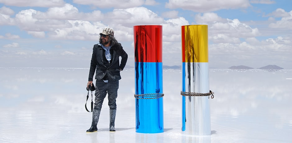Gaston Ugalde at work at the Bolivian salt flats
