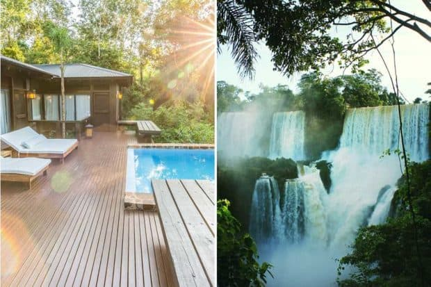 From left: a villa at Awasi Iguazú (courtesy Awasi, credit Evan Austen); views of Iguazú Falls.