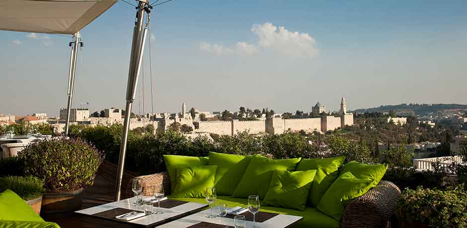 The rooftop at the Mamilla Hotel