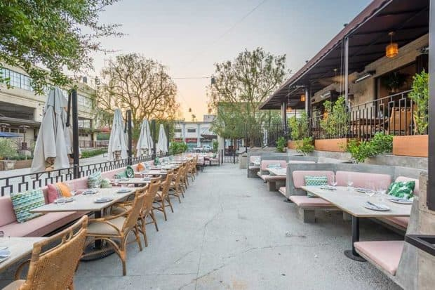 The alfresco dining area at Dama in Los Angeles