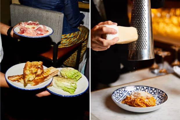 Small plates typical of Emilia-Romagna and the iconic tagliolini al ragu, Modena-style, with a generous helping of parmesan at Rezdôra. Photos by Colin Clark.