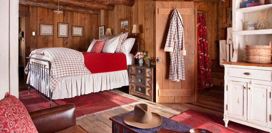 A cozy bedroom at the Ranch at Rock Creek, Big Sky, Montana. Courtesy the Ranch at Rock Creek