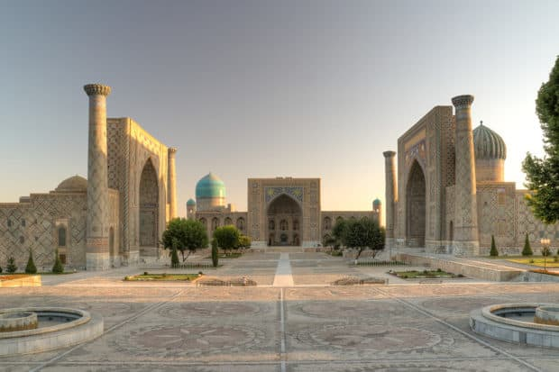 The iconic Registan Square in Samarkand, Uzbekistan.