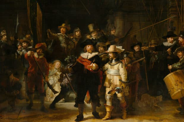 Rembrandt van Rijn, Militia Company of District II under the Command of Captain Frans Banninck Cocq, Known as the 'Night Watch', 1642. Courtesy Rijksmuseum.
