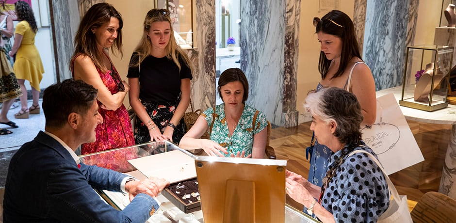 Browsing the Bulgari jewelry collection in Rome on the 2019 Insider Journey with Vogue