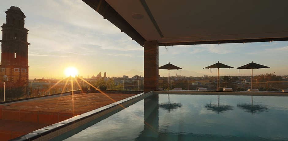 Rooftop pool at the Rosewood