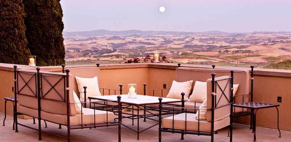 A lovely terrace for a romantic aperitivo at Castiglion del Bosco, Tuscany