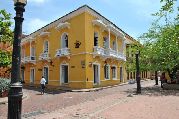 Yellow building in Cartagena, Colombia