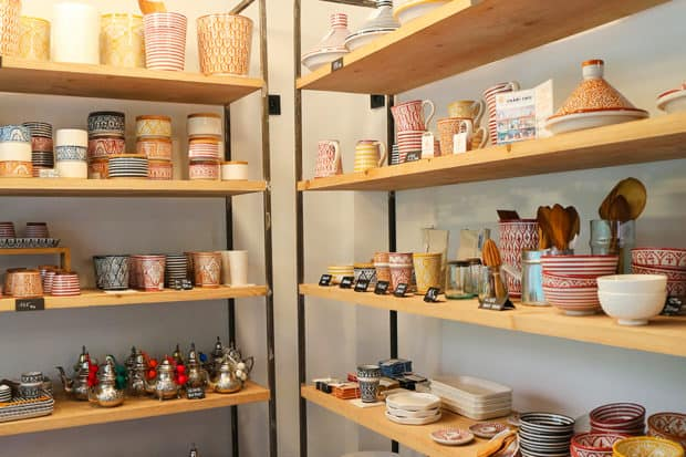 Ceramics and tableware at Chabi Chic in Marrakech