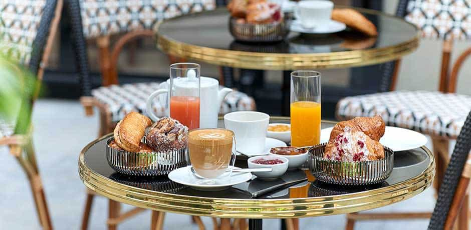 An alfresco breakfast at Café Pierre Hermé at Beaupassage