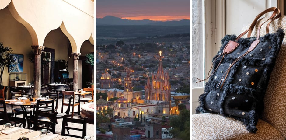 From left: The Restaurant at Sollano 16, view of San Miguel de Allende's famous church at night, a bag for sale in Sollano 16