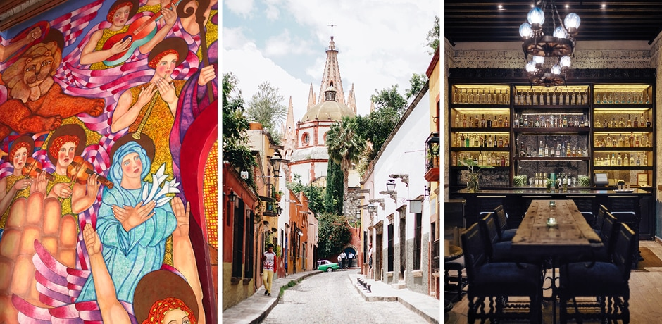From left: Street art in San Miguel; a view of the famous Parroquía church; the Blue Bar at the Belmond Casa de Sierra Nevada