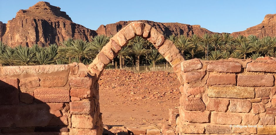 A gate located in the Dedanite excavation area, which is the remains of a palace belonging to the first king of Lihyan.