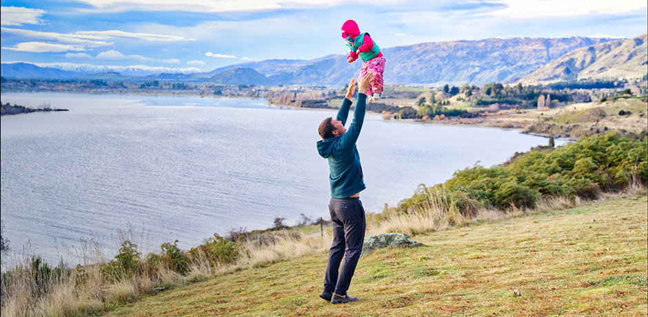 Member Brian Haklisch and his daughter Sierra enjoying Queenstown's countryside during an epic New Zealand adventure.