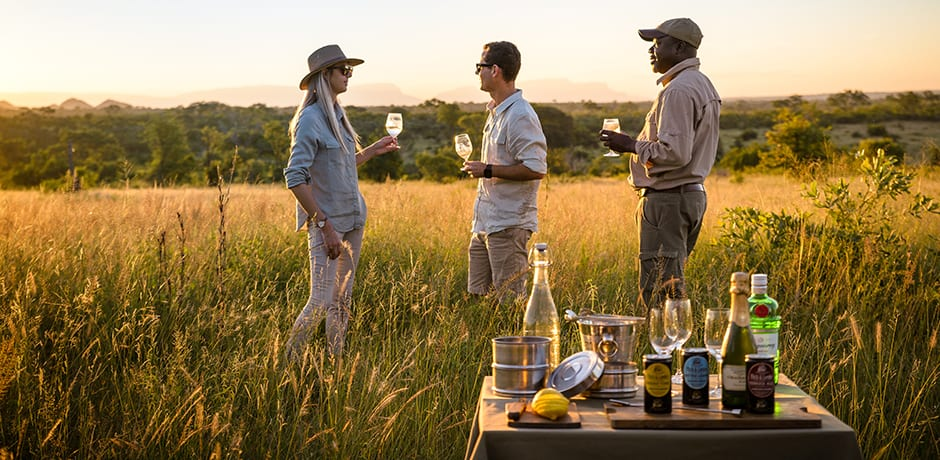 A sundowner on safari in South Africa, courtesy Singita