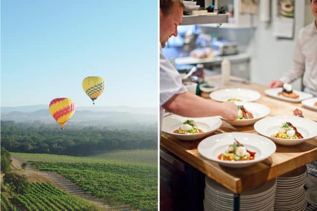 Hot air ballooning over Sonoma, Courtesy Sonoma Tourism Board; plating at the Farmhouse Inn
