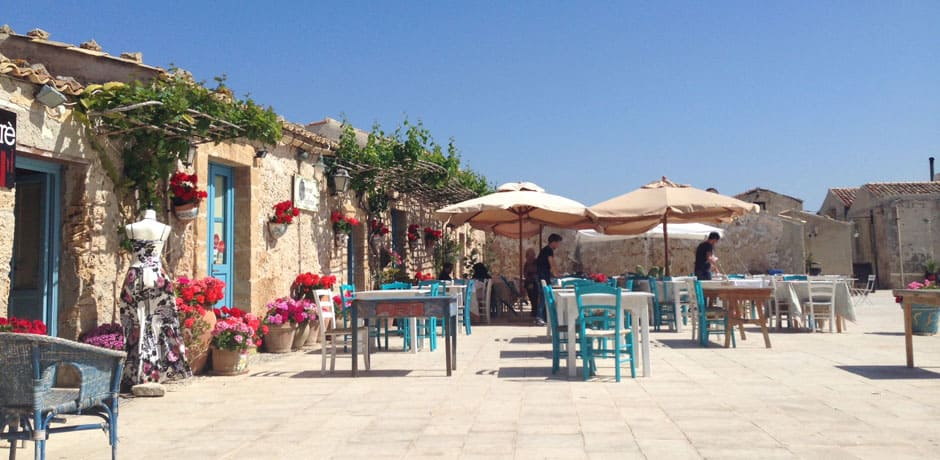 Lunchtime in Marzamemi, on Sicily's glorious southeastern coast.