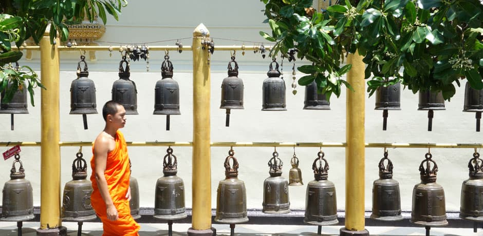 A monk at the Wat Phrathat Doi Suthep Buddhist Temple in Chiang Mai