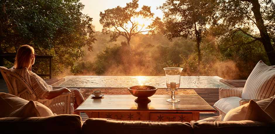 Sunrise from the Royal Suite at The Farmstead at Royal Malewane, South Africa. Courtesy the Royal Portfolio.