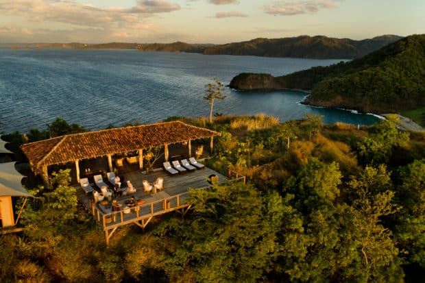 An aerial view of the sunset lounge at Kasiiya Papagayo, a brand-new eco retreat set on 123 acres of mountain and beach terrain in Guanacaste, Costa Rica. Photo by Brooke Day, courtesy Kasiiya Papayago.