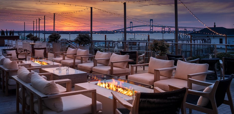 A view of the sunset on the patio at Gurney's Newport, Rhode Island.