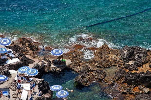 Aerial view of La Fontelina Beach Club in Capri Italy