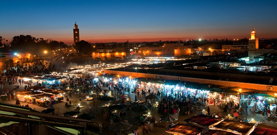 Djemaa El Fnaa Square at night